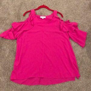 Hot Pink cold shoulder top
